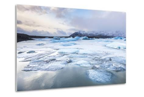 Frozen Icebergs in the Frozen Waters of Fjallsarlon Glacier Lagoon, South East Iceland, Iceland-Neale Clark-Metal Print