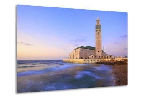 Exterior of Hassan Ll Mosque and Coastline at Dusk, Casablanca, Morocco, North Africa, Africa-Neil Farrin-Metal Print