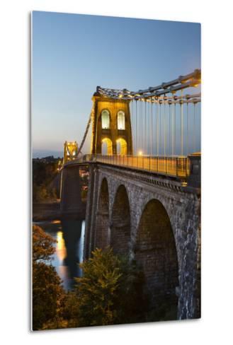 Menai Suspension Bridge at Night, Built in 1826 by Thomas Telford, Bangor, Gwynedd, Wales, UK-Stuart Black-Metal Print