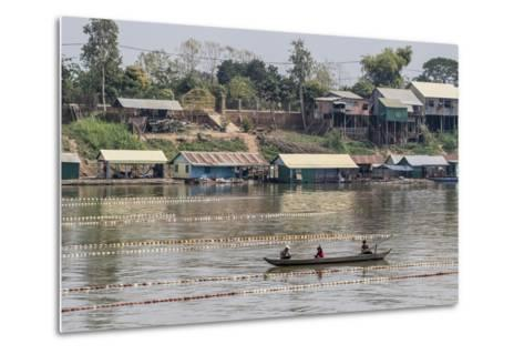 Cham People Using a Dai Fishing System for Trei Real Fish on the Tonle Sap River, Cambodia-Michael Nolan-Metal Print