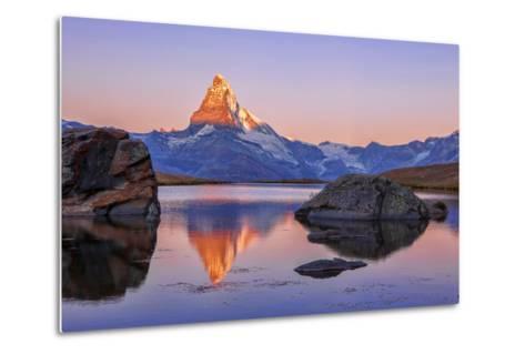 Pink Sky at Sunrise on the Matterhorn Reflected in Stellisee-Roberto Moiola-Metal Print
