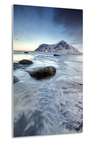 Sunset on the Surreal Skagsanden Beach Surrounded by Snow Covered Mountains-Roberto Moiola-Metal Print