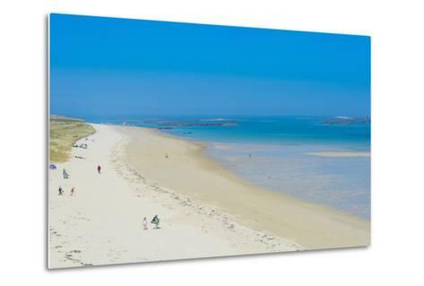 View over Shell Beach, Herm, Channel Islands, United Kingdom-Michael Runkel-Metal Print