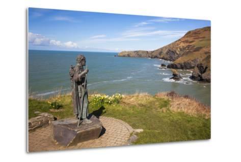 Statue of St. Carannog, Llangrannog Beach, Ceredigion (Cardigan), West Wales, Wales, UK-Billy Stock-Metal Print