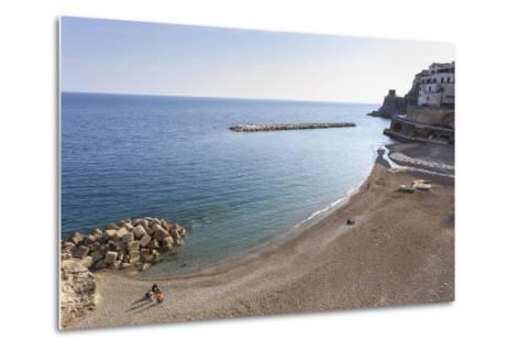 Elevated View of Atrani Beach with Family and Fishing Boats-Eleanor Scriven-Metal Print