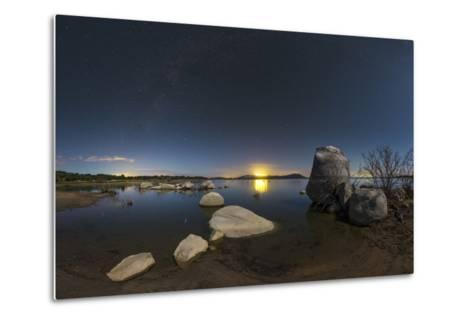 In a Moonlit Night the Milky Way Appears Above Lake Alqueva, Portugal-Babak Tafreshi-Metal Print
