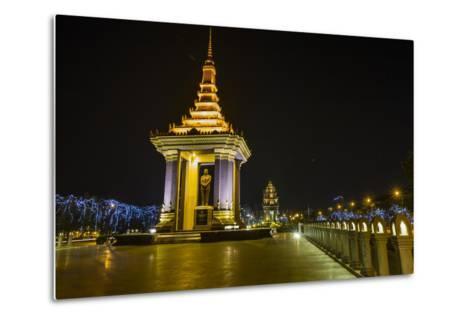 Night Photograph of the Statue of Norodom Sihanouk, Phnom Penh, Cambodia, Indochina-Michael Nolan-Metal Print