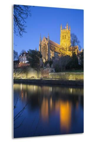 Worcester Cathedral on the River Severn Floodlit at Dusk, Worcester, Worcestershire, England, UK-Stuart Black-Metal Print