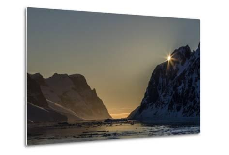 Sunset over Booth Island in the Waters of the Lemaire Channel, Antarctica, Polar Regions-Michael Nolan-Metal Print