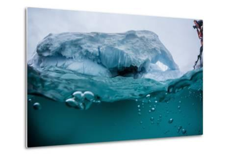 Above and Below Water View of Iceberg at Booth Island, Antarctica, Polar Regions-Michael Nolan-Metal Print