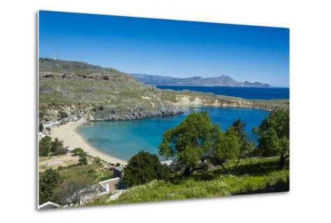 Pallas Beach in Lindos, Rhodes, Dodecanese Islands, Greek Islands, Greece, Europe-Michael Runkel-Metal Print