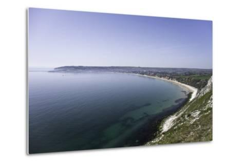 View of Swanage Bay from the Coastal Footpath in Dorset, England, United Kingdom-John Woodworth-Metal Print