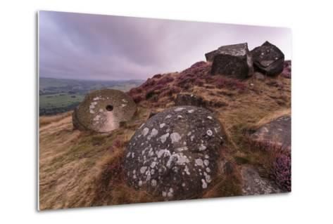 Millstone Amongst Heather and Lichen Covered Boulders at Dawn-Eleanor Scriven-Metal Print