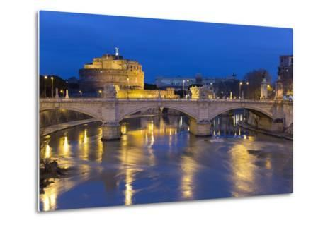 Castel Sant'Angelo and Ponte Vittorio Emanuelle Ii on the River Tiber at Night, Rome, Lazio, Italy-Stuart Black-Metal Print