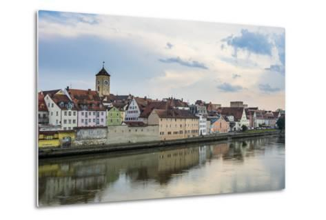 Danube River and Skyline of Regensburg, Bavaria, Germany-Michael Runkel-Metal Print