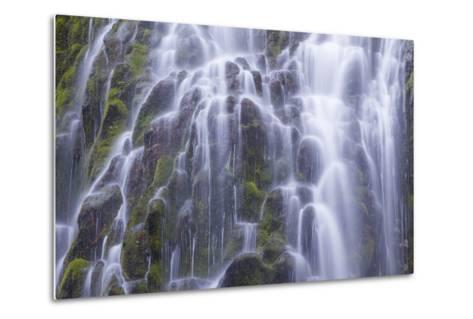 The Lower Proxy Falls Cascade over Moss Covered Basalt in the Three Sisters Wilderness Area-Greg Winston-Metal Print
