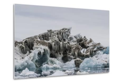 Iceberg with Moraine Material and Icicles at Booth Island, Antarctica, Polar Regions-Michael Nolan-Metal Print