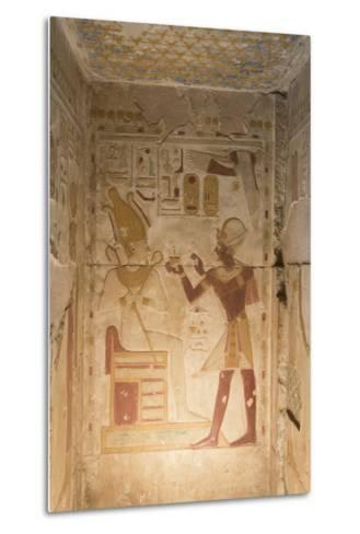 Bas-Relief, Pharaoh Seti I on Right, Temple of Seti I, Abydos, Egypt, North Africa, Africa-Richard Maschmeyer-Metal Print