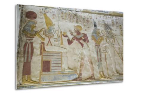 Pharaoh Seti I in Center Making an Offering to the Seated God Osiris-Richard Maschmeyer-Metal Print