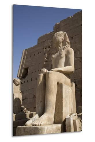 Seated Colossus in Front of 8th Pylon, Karnak Temple, Luxor, Thebes, Egypt, North Africa, Africa-Richard Maschmeyer-Metal Print