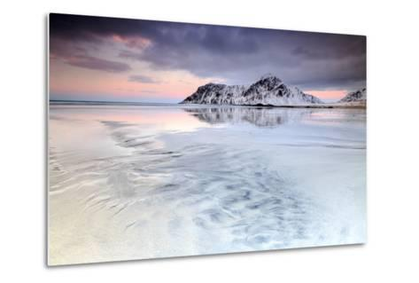 Sunset on Skagsanden Beach Surrounded by Snow Covered Mountains Reflected in the Cold Sea-Roberto Moiola-Metal Print