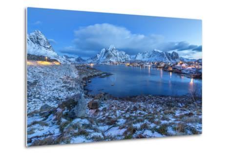 Blue of Dusk Dominates the Scenery in Reine, Lofoten Islands, Arctic, Norway, Scandinavia-Roberto Moiola-Metal Print