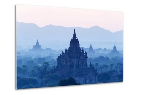Temples and Pagodas in Early Morning Mist at Dawn, Bagan (Pagan), Myanmar (Burma)-Stephen Studd-Metal Print