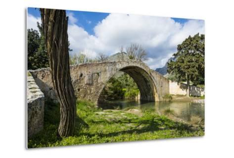 Old Roman Bridge, Preveli, Crete, Greek Islands, Greece, Europe-Michael Runkel-Metal Print
