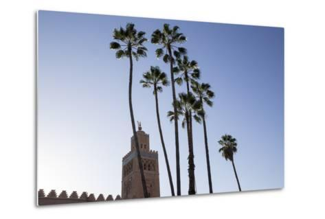 Minaret of Koutoubia Mosque with Palm Trees, UNESCO World Heritage Site, Marrakesh, Morocco-Stephen Studd-Metal Print