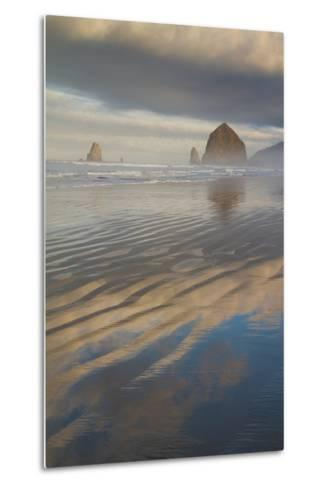 Haystack Rock, the Needles, and Reflections of Clouds at Sunrise-Greg Winston-Metal Print