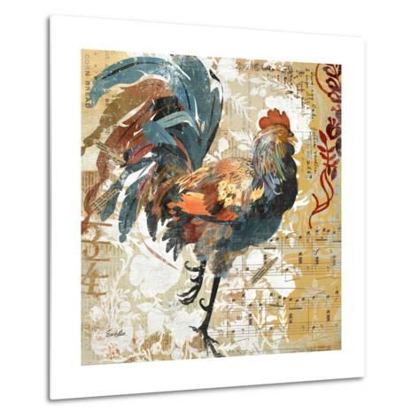 Rooster Flair I-Evelia Designs-Metal Print