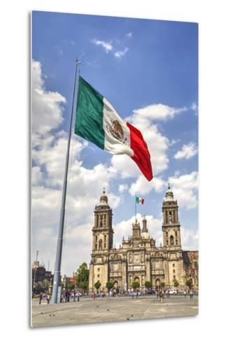 Mexican Flag, Plaza of the Constitution (Zocalo), Metropolitan Cathedral in Background-Richard Maschmeyer-Metal Print