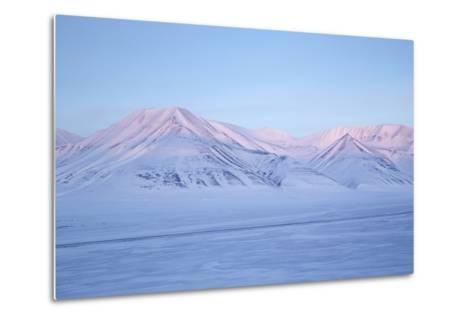 View Towards Dirigenten Mountain and Tenoren across Adventdalen Valley at Sunset-Stephen Studd-Metal Print