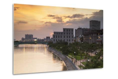 View of Park and Ben Ngde River at Sunset, Ho Chi Minh City, Vietnam, Indochina-Ian Trower-Metal Print