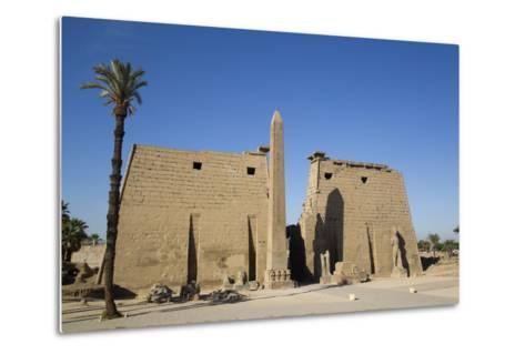 Obelisk, 25 Meters High in Front of Plyon 65 Meters Wide, Luxor Temple-Richard Maschmeyer-Metal Print