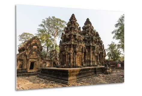 Ornate Carvings in Red Sandstone at Banteay Srei Temple in Angkor, Siem Reap, Cambodia-Michael Nolan-Metal Print