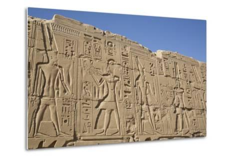 Bas-Relief of Pharaohs and Gods, Karnak Temple, Luxor, Thebes, Egypt, North Africa, Africa-Richard Maschmeyer-Metal Print