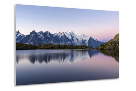 Mont Blanc Reflected During Twilight in Lac Des Cheserys, Haute Savoie, French Alps, France-Roberto Moiola-Metal Print