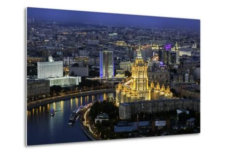 Elevated View over the Moskva River Embankment-Gavin Hellier-Metal Print