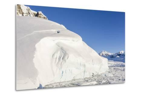 Snow-Covered Mountains Line the Ice Floes in Penola Strait, Antarctica, Polar Regions-Michael Nolan-Metal Print
