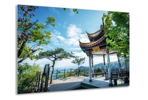 Pavilion on Four Sides Peak at Tian Mu Shan, Zhejiang, China-Andreas Brandl-Metal Print