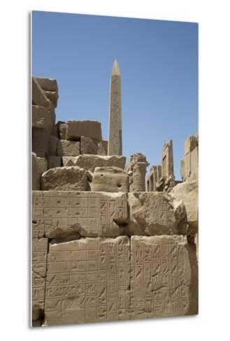 Hierogyliphics in Foreground, Obelisk of Tuthmosis in the Background, Karnak Temple-Richard Maschmeyer-Metal Print