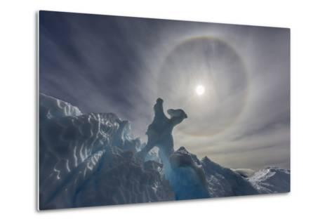 Complete Sun Halo and Glacial Iceberg Detail at Cuverville Island, Antarctica, Polar Regions-Michael Nolan-Metal Print