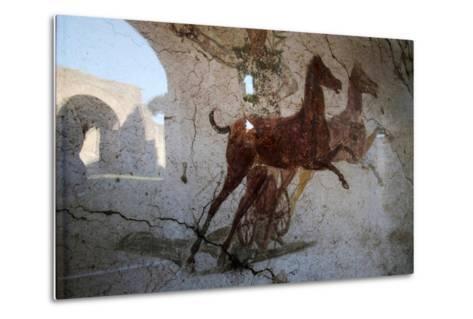 Roman Chariot Fresco, Ancient Ostia (Ostia Antica), Rome, Lazio, Italy, Europe-Oliviero Olivieri-Metal Print