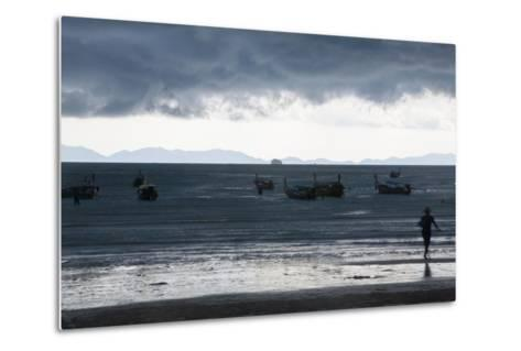 Fishermen Coming in as an Afternoon Storm Approaches Railay Beach-Erika Skogg-Metal Print