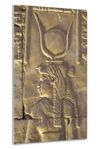 Relief Depicting the Goddess Hathor, Temple of Horus, Edfu, Egypt, North Africa, Africa-Richard Maschmeyer-Metal Print