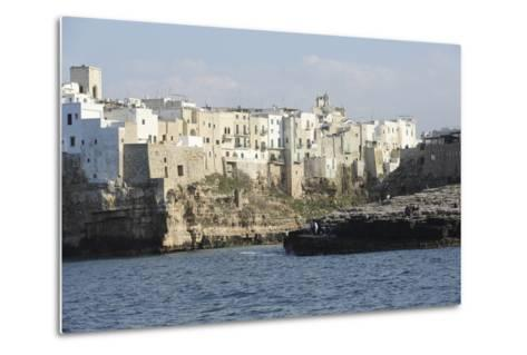 Clifftop Houses, Built onto Rocks, Forming the Harbour of Polignano a Mare-Stuart Forster-Metal Print
