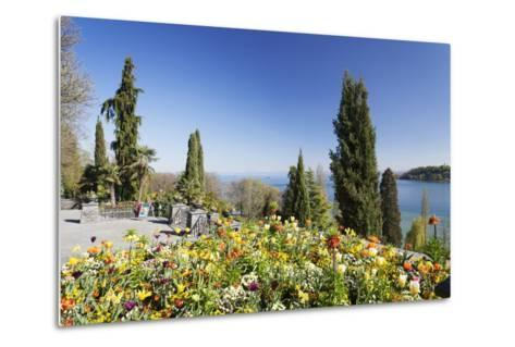 Mainau Island in Spring, View over Lake Constance to the Alps, Baden-Wurttemberg, Germany, Europe-Markus Lange-Metal Print