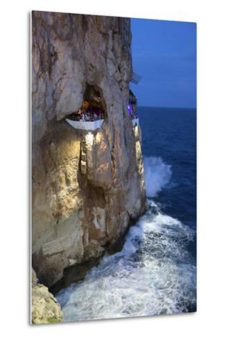 Bar Built in Cliff Caves, Cova D'En Xoroi in Evening, Cala En Porter-Stuart Black-Metal Print