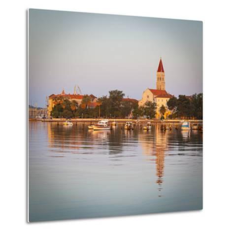 Cathedral of St. Lawrence Illuminated at Sunrise, Stari Grad (Old Town), Trogir, Dalmatia, Croatia-Doug Pearson-Metal Print
